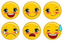Emoticons do sorriso ajustados Imagem de Stock Royalty Free