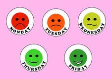 Emoticons e dias da semana ilustração do vetor