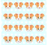 Emoticons, emoji, smiley set, colorful Sweet Kitty Little cute kawaii anime cartoon dog, puppy different emotions mascot sticker H Royalty Free Stock Photo