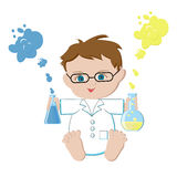 Emoticons, emoji, smiley square icon set. Vector illustration. Baby scientist sitting and holding flasks with solutions that form  rainbow isolated on white Stock Photography