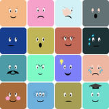 Emoticons, emoji, smiley square icon set. Vector illustration. Stock Image
