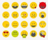 Emoticons, emoji, smiley vlak vectorreeks Stock Afbeeldingen