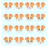 Emoticons, emoji, smileysatz, bunter süßer kawaii Kitty Littles netter Anime-Karikaturhund, Gefühl-Maskottchenaufkleber H des Wel vektor abbildung