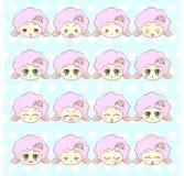 Emoticons, emoji, smileysatz, Gefühl-Maskottchen-WTI des bunten süßen kawaii Kitty Littles netten flaumigen Lammmädchens der Anim vektor abbildung