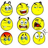 Emoticons engraçados dos desenhos animados dos ALUGUERES Fotografia de Stock Royalty Free
