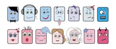 Emoticons, expresiones, iconos Ilustración del Vector