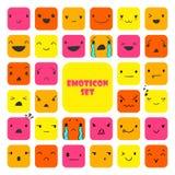 Emoticons 3 för fastställd fyrkant vektor illustrationer