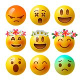 Emoticons för för Smileyframsidaemoji eller guling i glansigt realistiskt som 3D isoleras i vit bakgrund, vektor Royaltyfria Foton