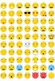 Emoticons fijados - 70 diversas emociones fotos de archivo