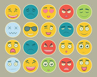Emoticons flat design set. Emoticon for web site, chat, sms. Emoticons icons. Vector Stock Photography