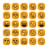 Emoticons. Flat icons. Smile with a beard, different emotions, moods. Vector illustration Stock Image