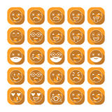 Emoticons. Flat icons. Smile with a beard, different emotions, moods. Vector illustration Stock Images