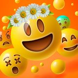 Emoticons with flower on head, background with group of smiley emoji Stock Photos