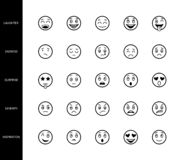 Emoticons fodrar symboler vänder mot lynne för tecken för tecknad film för linjär för symboler för sinnesrörelseuttryck för logo  stock illustrationer