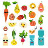 Emoticons food vector set. Cute funny stickers Stock Image