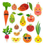 Emoticons food vector set. Cute funny stickers Royalty Free Stock Image