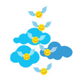 Emoticons in the form of the righteous that go to heaven. Royalty Free Stock Photos