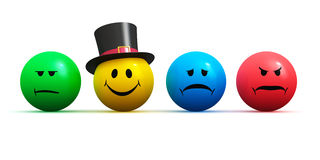 Emoticons with four different moods. Creative abstract mood, emotion and feeling expression concept: color smiley faces emoticons with four different moods Stock Photo
