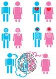 Emoticons för parförhållandebegrepp Arkivbilder