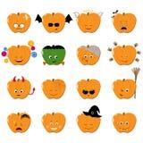 Emoticons halloween vector set. Cute funny stickers. Emoji pumkins flat cartoon style. Vector illustration Stock Photos