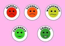 Emoticons i dni tygodnia Zdjęcia Stock