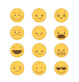 Emoticons icon Set in Flat Style Stock Photography