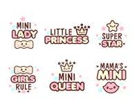 Emoticons lindos de Kawaii con los objetos del bebé Imagen de archivo libre de regalías
