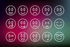 Emoticons line set illustration Royalty Free Stock Image