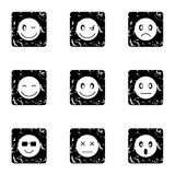 Emoticons for messages icons set, grunge style Stock Images
