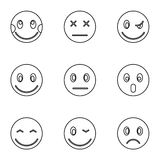 Emoticons for messages icons set, outline style Royalty Free Stock Photos