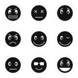 Emoticons for messages icons set, simple style Royalty Free Stock Photography
