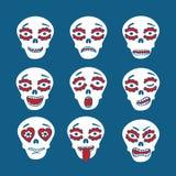 Emoticons mexicanos de los cráneos stock de ilustración