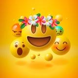 Emoticons mit Blume auf Kopf, Sommerkonzept, emoji mit Kranz blüht auf Kopf Stockfotos