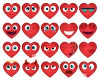 Emoticons o iconos de los corazones del smiley fijados Imagen de archivo