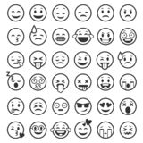 Emoticons outline. Emoji faces emoticon funny smile line black icons expression smiley facial people humor mood, flat vector illustration