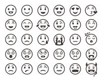Emoticons outline. Emoji faces emoticon funny smile vector line icons