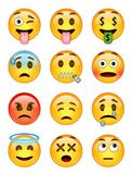12 emoticons - pack 2 - EPS - illustrator Stock Photos
