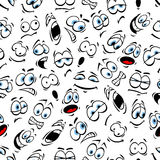Emoticons pattern of human face emotions. Vector seamless pattern of cartoon human face with mood expression smiling, bored, winking, happy, surprised, sad Royalty Free Stock Photography