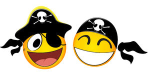 Emoticons Pirate. Illustration Of Emoticons Pirate On White Stock Photography