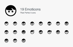 19 Emoticons Pixel Perfect Icons. We designed these emoticons to represent human emotions, characters, behaviours, and actions. We make it cute so that they can Stock Image