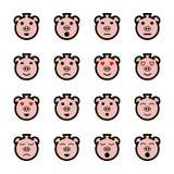 Emoticons planos del cerdo de la cara fijados Foto de archivo