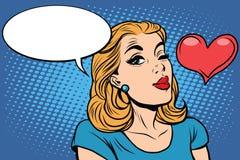 Emoticons románticos de la muchacha del amor retro del corazón de Emoji Fotos de archivo