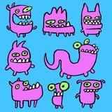 Emoticons rosados de los monstruos fijados Ilustración del vector ilustración del vector