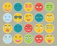 Emoticons sänker designuppsättningen Emoticon för webbplatsen, pratstund, sms Emoticonssymboler vektor Arkivbild