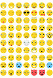 Emoticons  Set - 70 different emotions Stock Photos