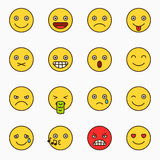 Emoticons set, yellow website emoticons Stock Photos