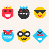 Emoticons, smile face icons make from simple geometric shapes Royalty Free Stock Photo