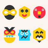 Emoticons, smile face icons make from simple geometric shapes Royalty Free Stock Image
