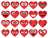 Emoticons or smiley hearts icons set Stock Image