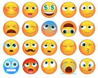 Emoticons or smiley icons set. Cute emoticons or smileys icons set for web. More smileys in same style find in portfolio Stock Photo
